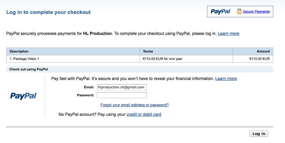 Paypal Page.
